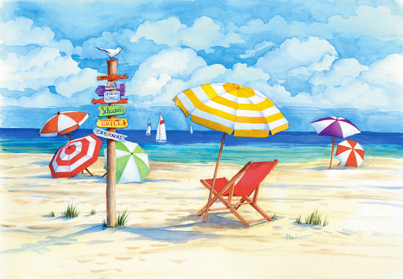 Tropical beach scene with colorful sign, umbrellas, and lounge chair