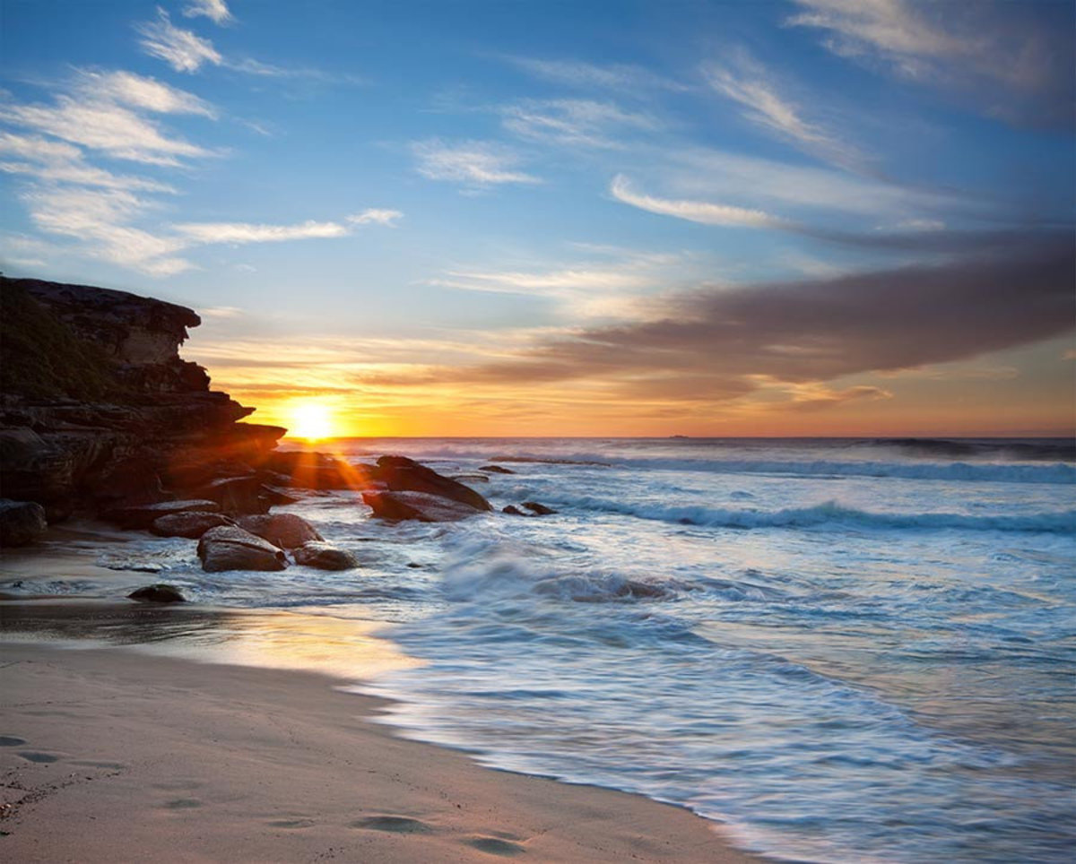 Beach Sunrise and Rushing Waves Wallpaper Mural