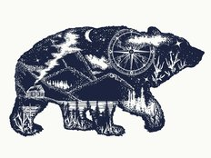 Bear Tourism Woodblock Wall Mural