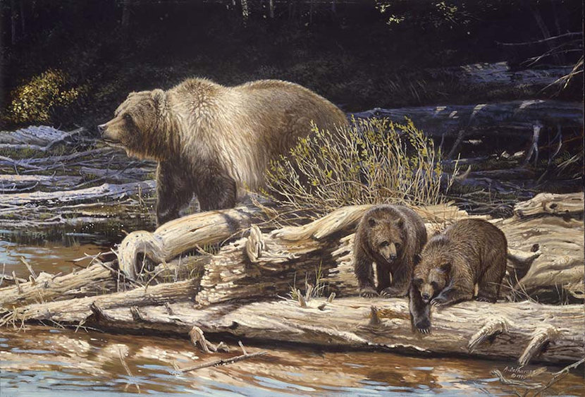 Bear with Cubs Wall Mural