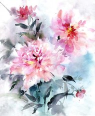 Beautiful Bouquet Of Pink Peonies With Leaves Wall Mural