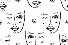 Beautiful Face Line Art Pattern Wallpaper