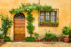 Beautiful Porch Decorated With Flowers In Italy Mural Wallpaper