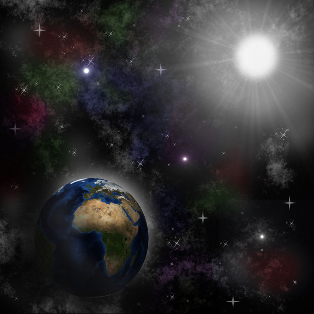sun illuminating the earth in outer space