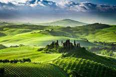 Beautiful Sunrise In The Valley Of San Quirico d Orcia Mural Wallpaper