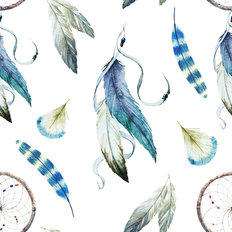 Blue Feathers and Dreamcatchers Wallpaper
