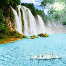 Beautiful Waterfall On Sunny Day Mural Wallpaper
