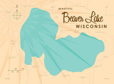 Beaver Lake, WI Lake Map Mural Wallpaper