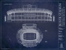 Beaver Stadium Blueprint  Wallpaper Mural