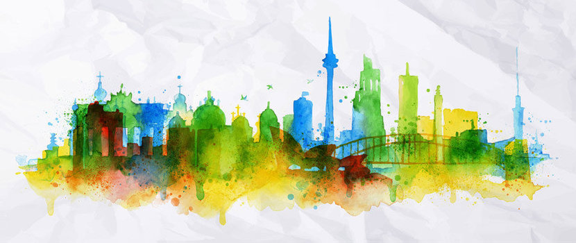 Portrayed in dreamy watercolors, the Berlin skyline is silhouetted in splashes of colors