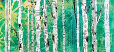 Birches On Green Wall Mural
