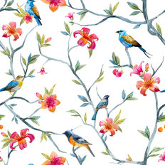 Birds And Branches Pattern Wallpaper