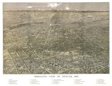 Birds-Eye View Of Denver, CO 1887 Wallpaper Mural