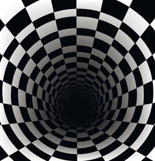 Black Hole In Checkerboard Wall Mural
