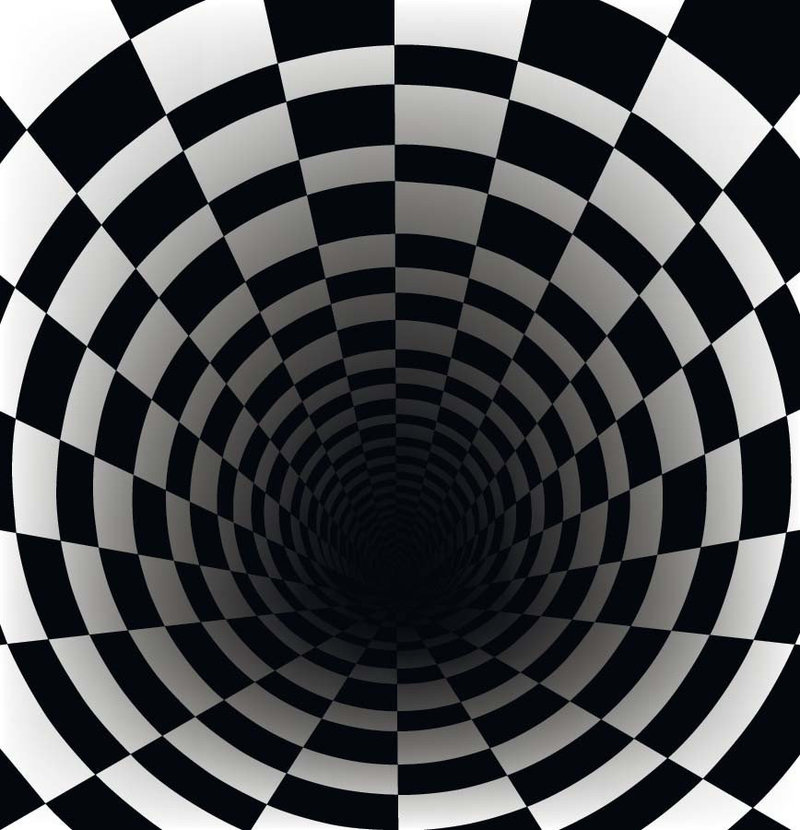 black and white 3D checkerboard tunnel pattern