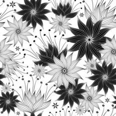 Black and White Blooms Wallpaper