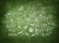 Soccer Blackboard Mural Wallpaper
