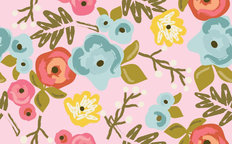 Bloom Pattern With Blush Background Mural Wallpaper
