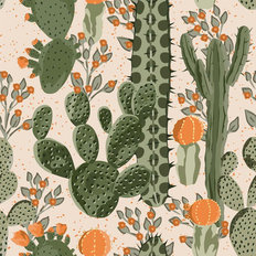 Blooming Cacti Pattern Wallpaper