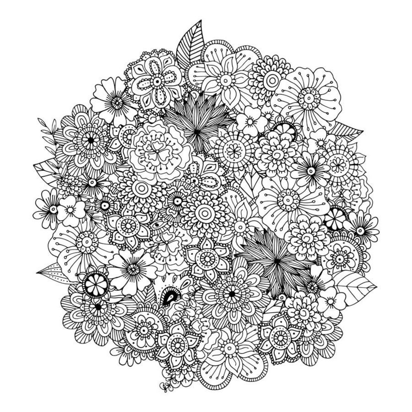 lacy floral doodles make up this lovely coloring image