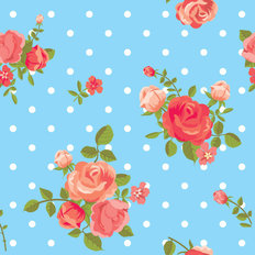 Polka Dots and Roses Pattern Wallpaper