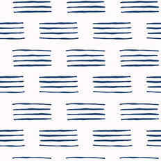 Blue And White Abstract Hand Drawn Pattern Wallpaper