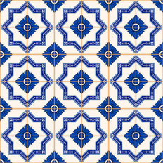 Blue and White Patchwork Pattern Wallpaper Mural