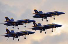 Blue Angels And Clouds Wallpaper Mural