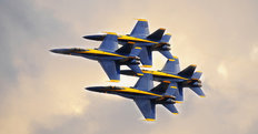 Blue Angels In Clouds Wallpaper Mural