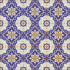 Blue Moroccan Tile Wallpaper