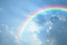 Rainbow and Clouds Wall Mural