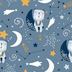 Blue Teddy Bear with Stars Pattern Wallpaper