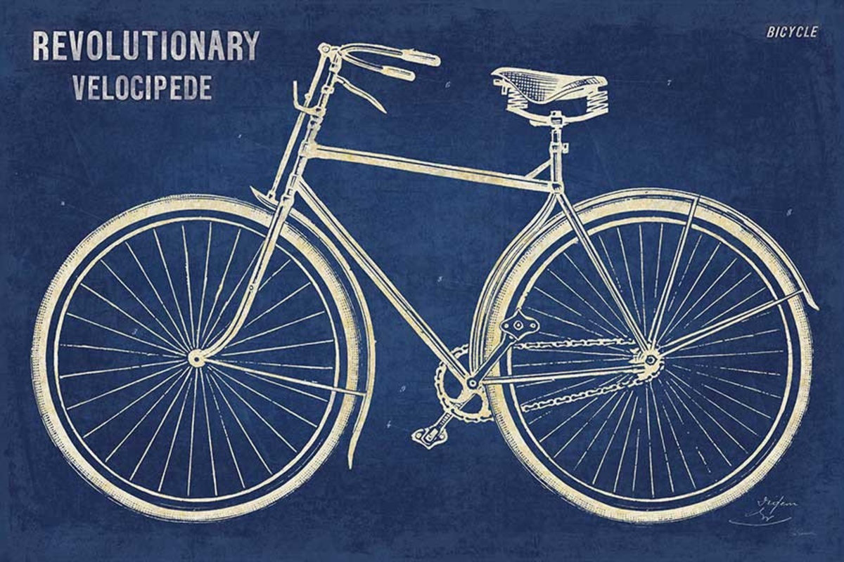 Blueprint Bicycle Mural Wallpaper