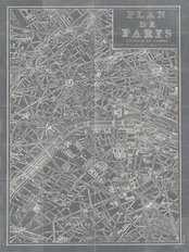 Blueprint Map Of Paris Mural Wallpaper