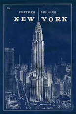 Blueprint New York Chrysler Building Wall Mural