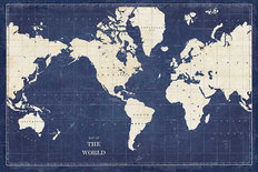 Blueprint World Map Mural Wallpaper