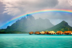Bora Bora Bungalows With Rainbow Over Mt Otemanu Wall Mural
