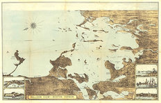 Boston Harbor 1879 Map Wallpaper Mural