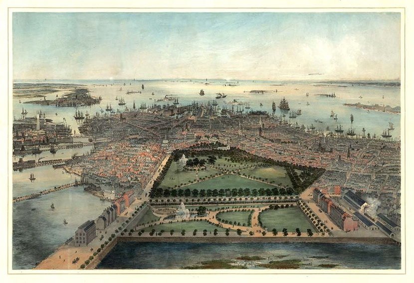 Zoomed in image of Boston, MA 1850 Mural Wallpaper
