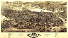 Boston, MA 1880 Map Wallpaper Mural