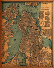 Boston, MA 1893 Map Mural Wallpaper