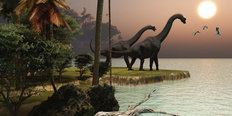 Brachiosaurus Sunset Mural Wallpaper