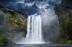 Breathtaking Waterfall in Iceland  Mural Wallpaper