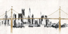 Bridge and Skyline Wallpaper Mural
