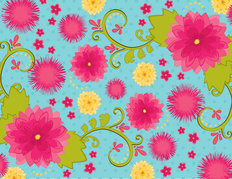 Bright Garden - Fuschia, Aqua, Yellow & Green Wallpaper