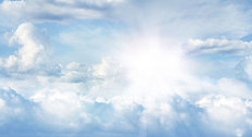 Bright Sun In Clouds Panoramic Mural Wallpaper