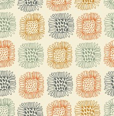 Bright Sunflowers Doodle Pattern Wallpaper