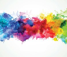 Bright Watercolor Stains Wall Mural