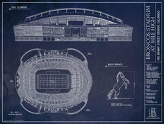 Broncos Stadium Blueprint Wall Mural