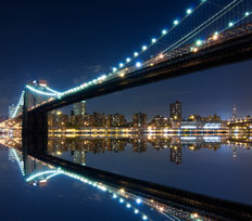 Brooklyn Bridge And Manhattan With Reflections At Night Wallpaper Mural